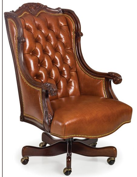 Office Chairs Tufted caramel leather office chair