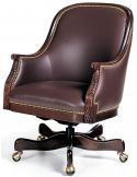 Brown leather low back swivel office chair