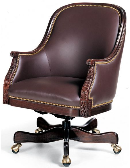 Office Chairs Brown leather low back swivel office chair