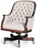 Tufted white leather low back office chair