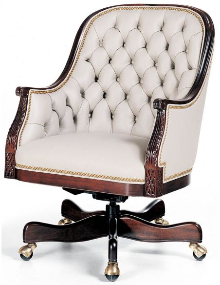 Office Chairs Tufted white leather low back office chair