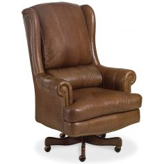 Brown leather wing backed office chair