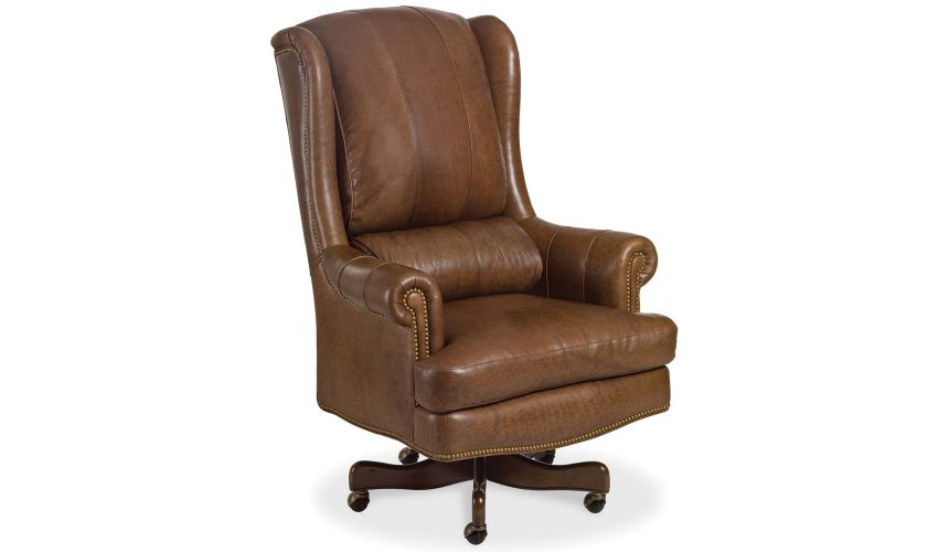 Office Chairs Brown leather wing backed office chair