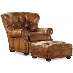 Leather tufted armchair with matching ottoman