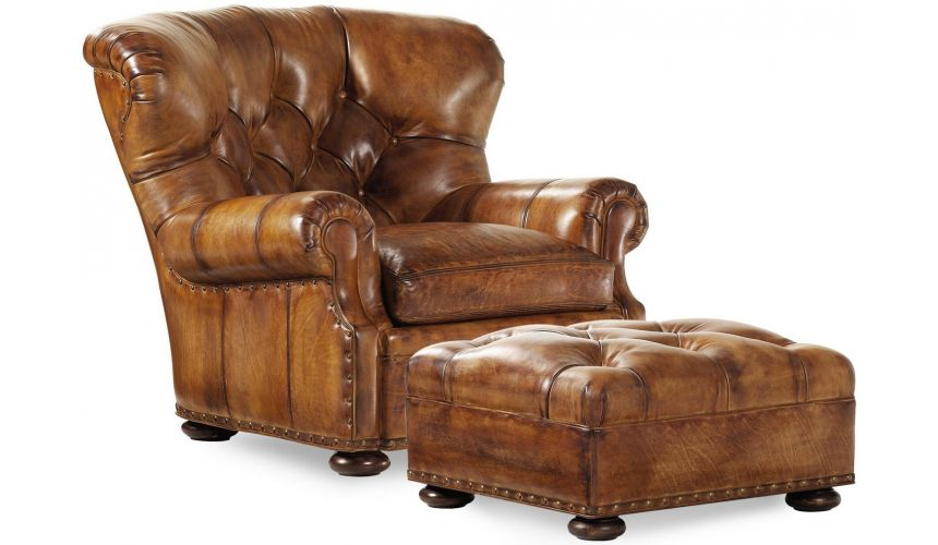 CHAIRS, Leather, Upholstered, Accent Leather tufted armchair with matching ottoman