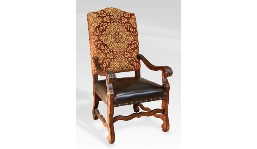 Dining Chairs Rustic Luxury Furniture, Arm Chair, leather seat fabric back