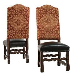 Rustic Luxury Furniture Red Damask Side Chair