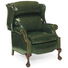 Bustle back green leather recliner