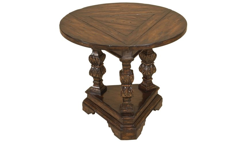 Round & Oval Side Tables Carved Spanish Galleon Finished Flip Down Top Occasional Table.