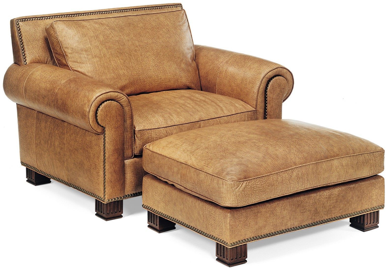 Leather armchair and matching ottoman - Bernadette Livingston