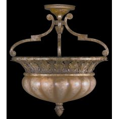 Semi-flush mount with hand-blown glass font and classic foliage arrangement