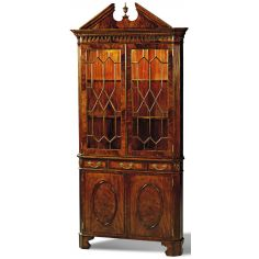 Crotch Mahogany Corner Cabinet Glass Shelves