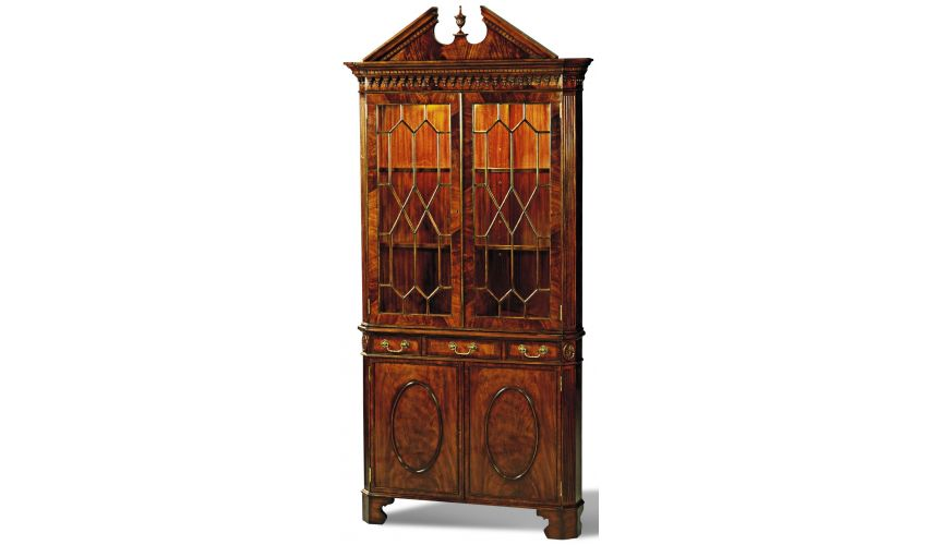 Breakfronts & China Cabinets Crotch Mahogany Corner Cabinet Glass Shelves