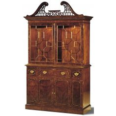 Crotch Mahogany Paned Glass Bookcase