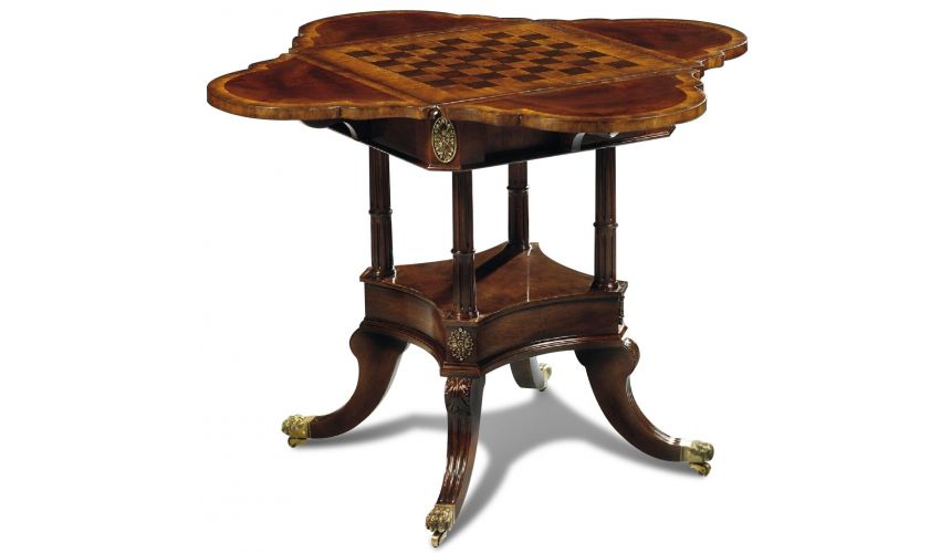 Game Card Tables & Game Chairs Crotch Mahogany Game Table Board