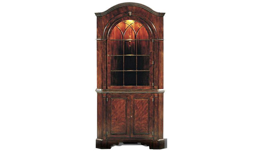 Breakfronts & China Cabinets Myrtle Burl Corner Cupboard 2