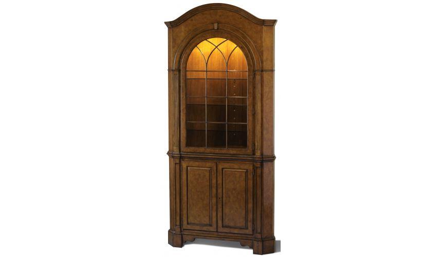 Breakfronts & China Cabinets Myrtle Burl Corner Cupboard