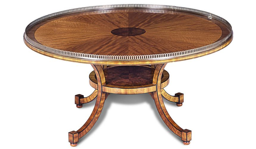 Round and Oval Coffee tables Movingue Walnut Burl Cocktail Table
