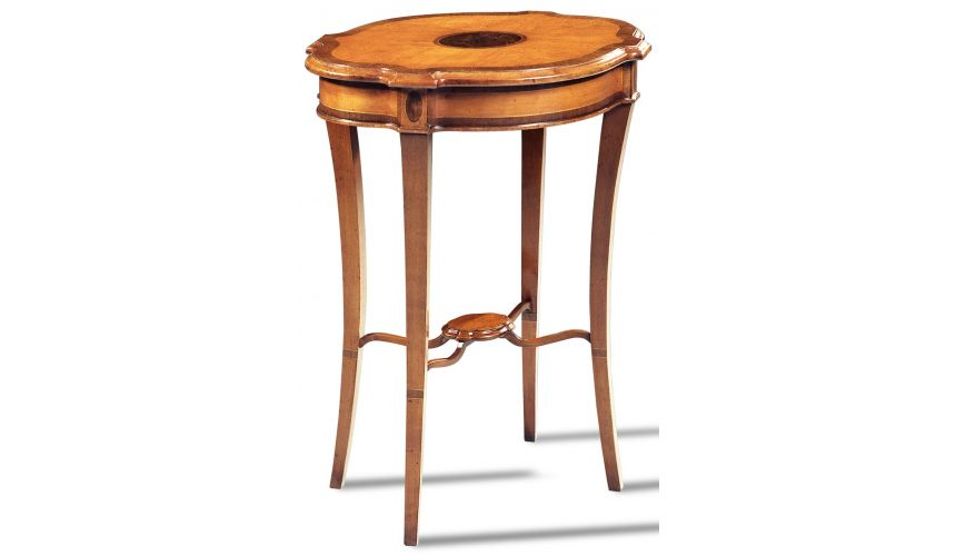 Round & Oval Side Tables Yew Wood End Table