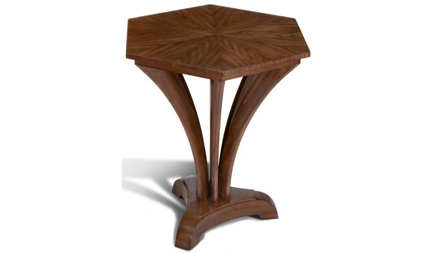 Round & Oval Side Tables Walnut Hexagonal Lamp Table