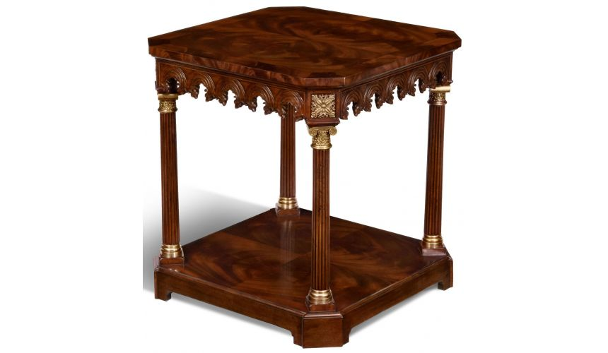Square & Rectangular Side Tables Crotch Mahogany End Table
