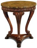 Mahogany Occasional Table Golden Agate Stone Inlaid