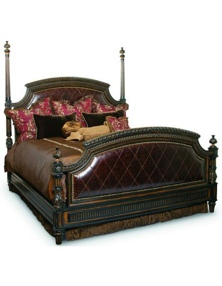 BEDS - Queen, King & California King Sizes Leather four post bed with intricate hand carved wooden details
