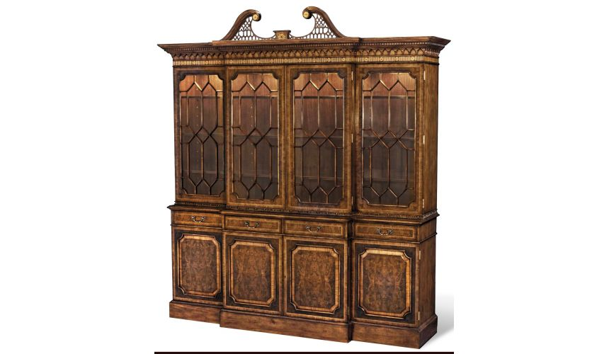 Breakfronts & China Cabinets Myrtle BurlBreakfront Marquetry Inlay