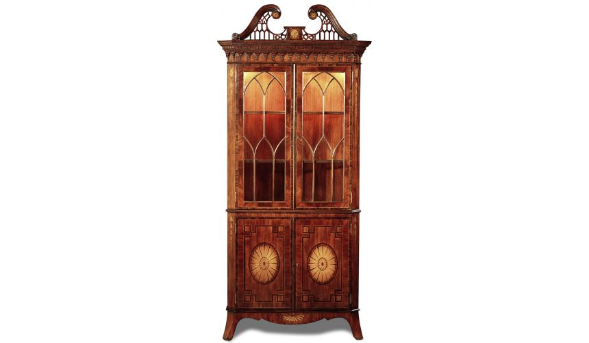 Breakfronts & China Cabinets Crotch Mahogany Rosewood Corner Cabinet Different 2