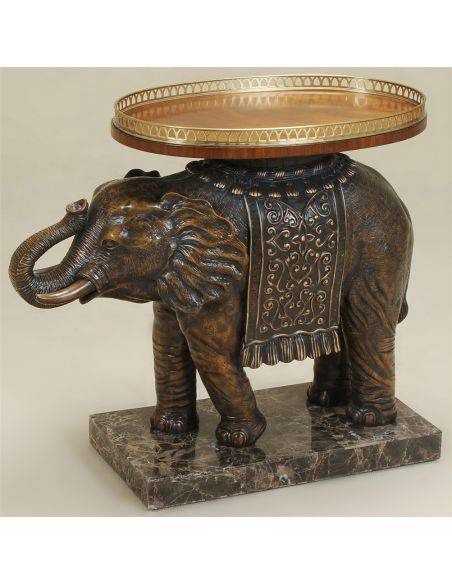 Round & Oval Side Tables Painted Antique Finished Elephant Occasional Table, Tray Top with Brass Gallery.
