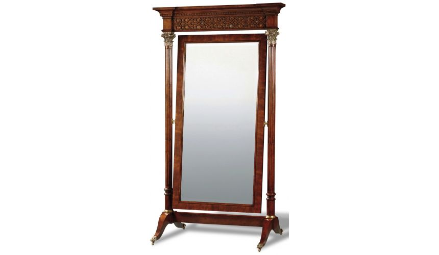 Mirrors, Screens, Decrative Pannels Crotch Mahogany Standing Mirror