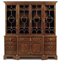 Burl Walnut Antique Bookcase