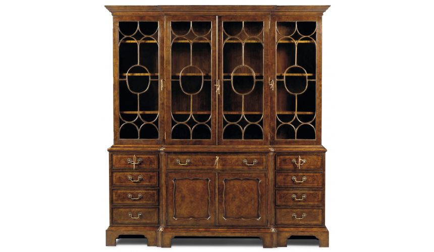 Breakfronts & China Cabinets Burl Walnut Antique Bookcase