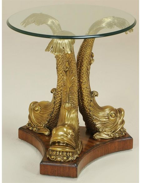 Round & Oval Side Tables Sherwood Finished Cast Brass Dolphin Occasional Table, Round Glass Top.