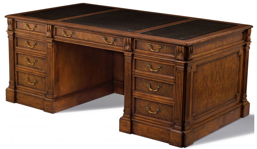 Executive Desks Myrtle Burl Writing Desk Tooled Leather