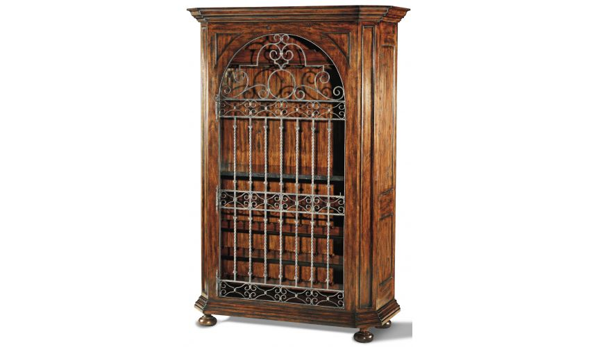 French Style Furniture Planed Heavily Distressed Wine Cabinet
