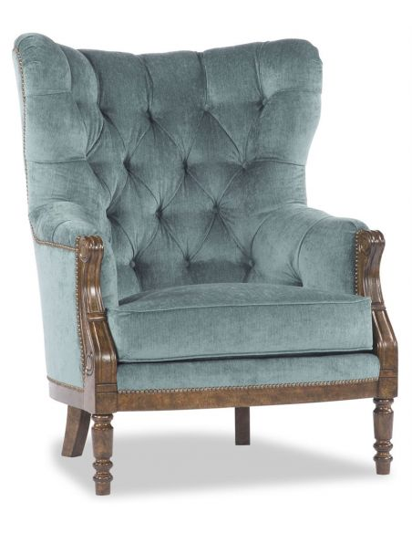 Luxury Leather & Upholstered Furniture Blue Tufted Parlor Chair