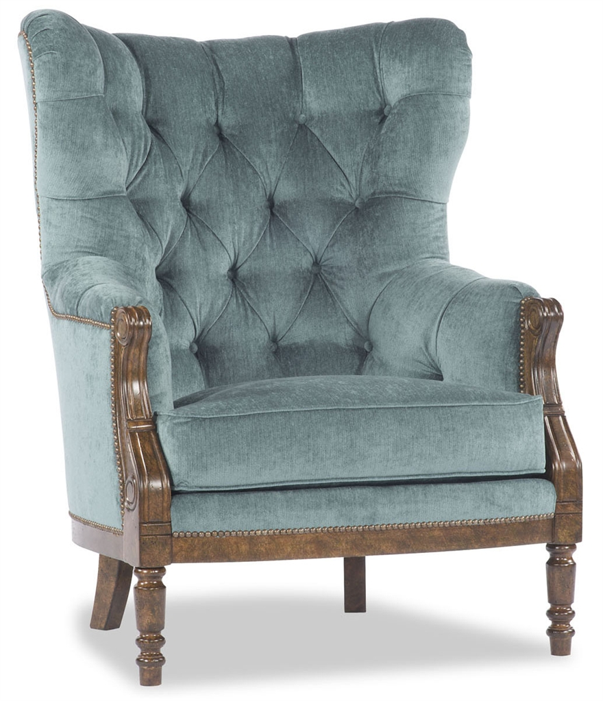 Luxury Leather U0026 Upholstered Furniture Blue Tufted Parlor Chair