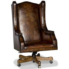 Embossed leather wing backed desk chair