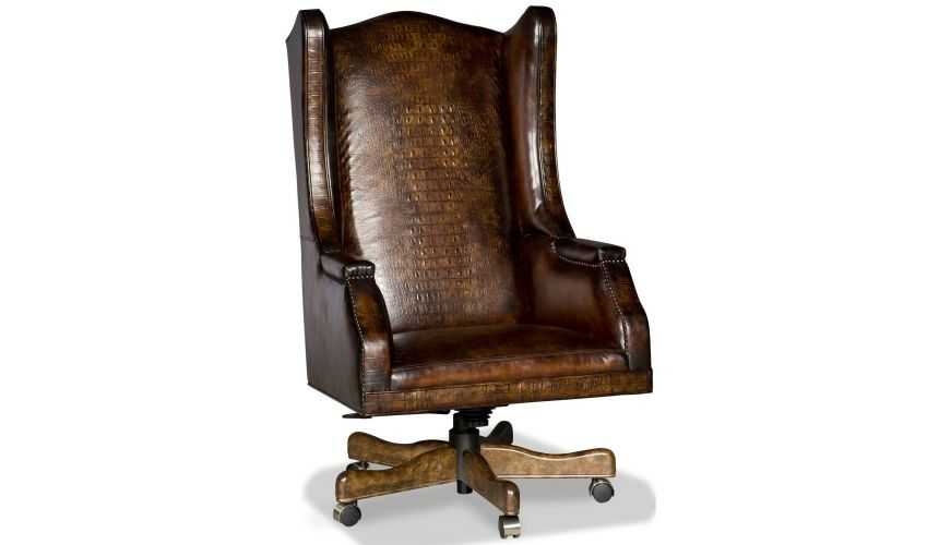 Office Chairs Embossed leather wing backed desk chair