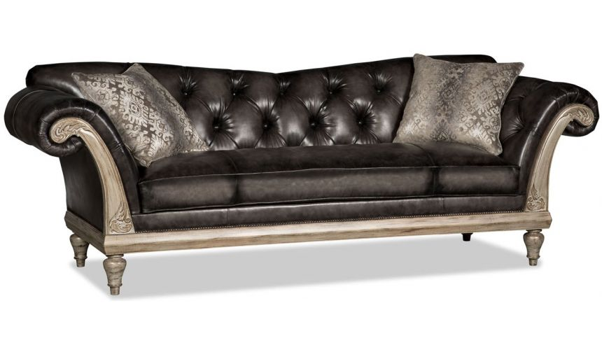 French Style Furniture Gunmetal gray leather Duncan Phyfe style sofa