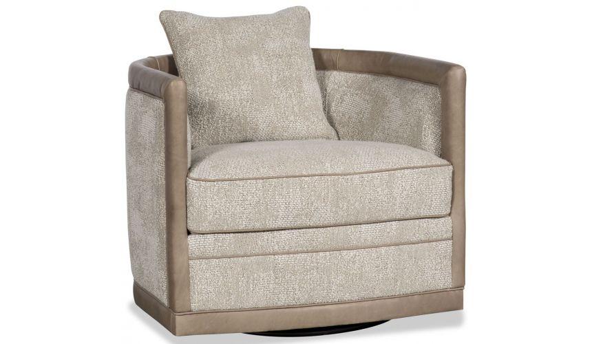 MOTION SEATING - Recliners, Swivels, Rockers Beige barrel style swivel chair