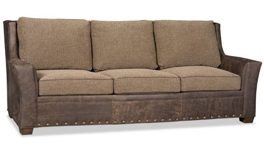 SOFA, COUCH & LOVESEAT Leather and herringbone sofa