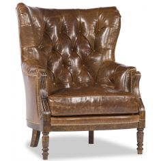 Brown Tufted Grandfather Chair,