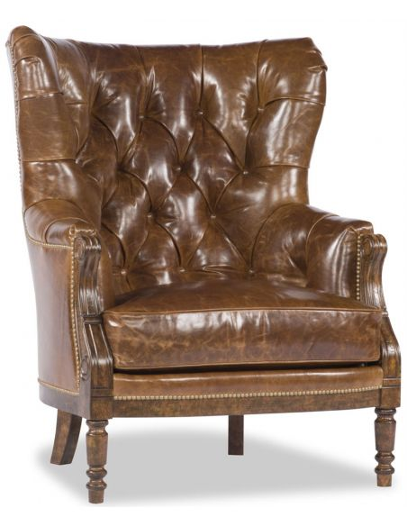 Office Chairs Brown Tufted Grandfather Chair,