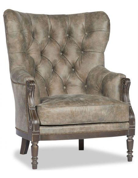 Luxury Leather & Upholstered Furniture Taupe Leather Club Chair
