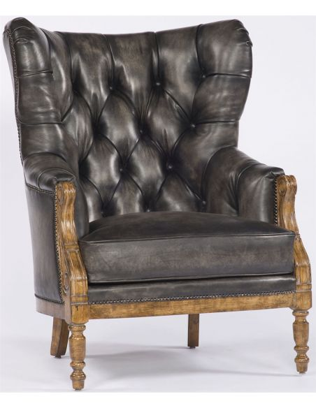 Luxury Leather & Upholstered Furniture Dark Leather Tufted Back Chair