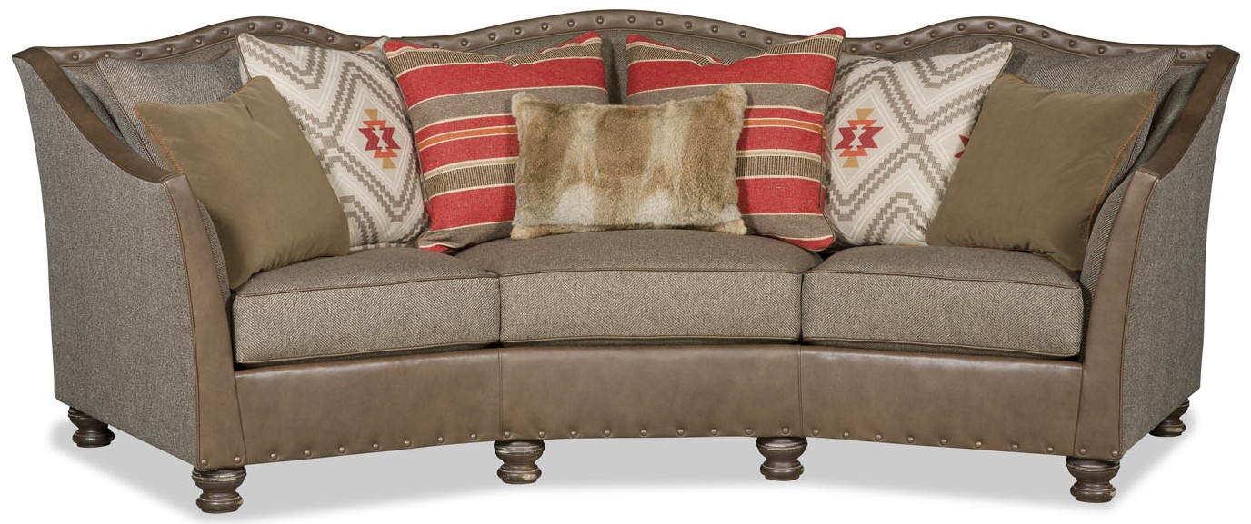 Rounded western style leather and tweed sofa for Leather and tweed sofa