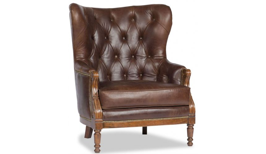 Luxury Leather & Upholstered Furniture Brown Leather Tufted Library Chair