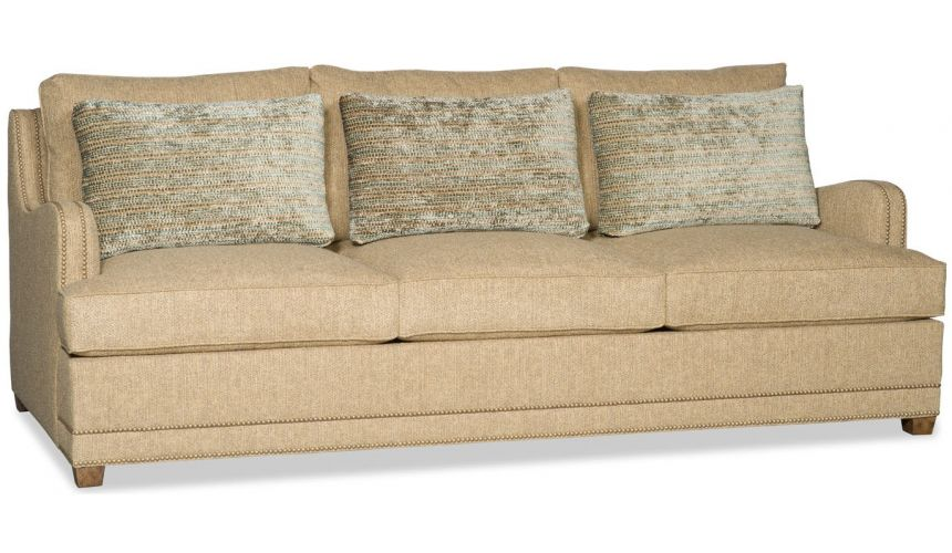 SOFA, COUCH & LOVESEAT Beige sofa with nailhead trim